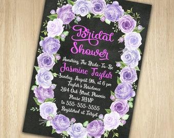 Lavender Bridal Shower Invitation, Rose Bridal Shower Invitation, Chalkboard Bridal Shower Invitation, Floral