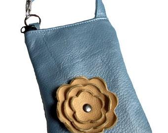 Blue Metallic Pearlized Leather Tan Beige Poppy Flower Cell Phone Iphone Galaxy Camera Gadget Case Zipper Pouch Sling Crossbody