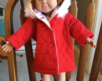 """Quilted coat for 18"""" dolls such as American girl"""