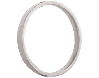 Wedding flat ring/band 2mm 9ct white gold