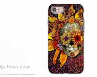 Sunflower Sugar Skull iPhone 7 / 8 Tough Case - Artistic Dia De Los Muertos iPhone 8 Case - Dual Layer Protection - Origins Botaniskull