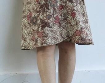"Erica cotton ""Chestnut"" batik wrap skirt one size"