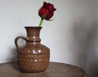 6.8'' Bay West Germany Vintage Pottery Vase. Brown vase with Handle. Earth Tones, rustic / boho decor