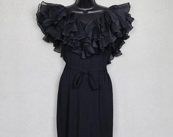1950s Oleg Cassini black silk crepe organza ruffle dress, rare Camelot era couture LBD little black dress, Grace Kelly Audrey Hepburn style