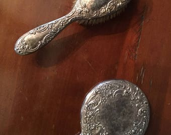 Antique Sterling silver hair brush and mirror vanity set