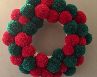 Red and Green wool pompom Christmas wreath. Festiv , home decor, party