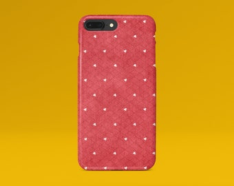 Cute iPhone X Case iPhone 8 Plus Case Red iPhone 7 Case iPhone 8 Case iPhone 6 Plus Case Matte iPhone 5 Case Hearts Galaxy S7 S8 S9 Case