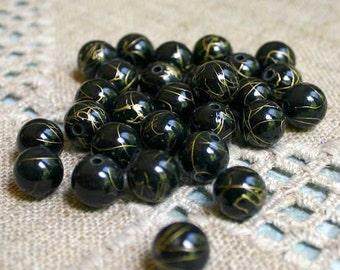 200pcs Bead Acrylic Black with Gold Swirls 10mm Round