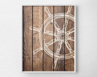 Nautical Wheel Decor, Nautical Bathroom, Rustic Nautical Print, Sailing Art, Nautical Decor, Nautical Nursery, Beach Art, 0288