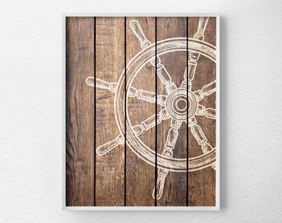 Nautical Wheel Decor Nautical Bathroom Rustic Nautical