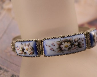 Russian Enamel Rostov Finift Silver over Copper Bracelet, Vintage Handpainted Flower Enamel Bracelet