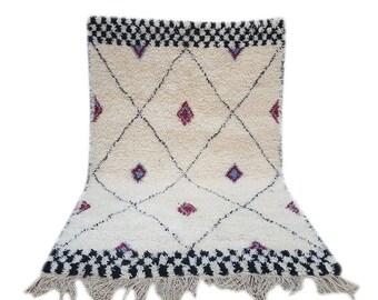 Moroccan rug Beni Ourain rug handmade 100% wool rug 7,8 / 5,2 feet