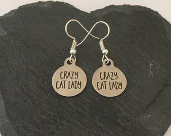 Crazy cat lady earrings / cat jewellery / cat lover gift / animal earrings / pet jewellery / animal lover gift