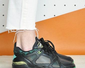 90s RETRO sneakers RAVE sneakers CHEERLEADER sneakers club kid sneakers leather sneakers mesh sneakers / Size 6.5 us / 4 uk / 37 eu