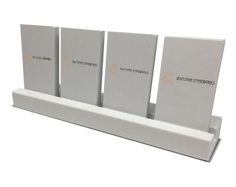 Multiple Vertical Business Card Holder - White Quartz - Office Desk Home, Recycled Quartz