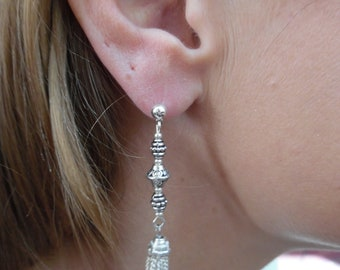 Silver Tassel Earrings with Antiqued Silver Bicones