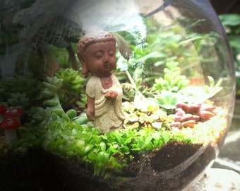 Small Buddha Standing Buddhist Monk  DIY Accessories Fairy Garden Succulent Terrarium Accessories