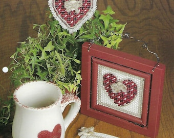 Country Valentines Plastic Canvas Pattern, Home Decor, Wall Hanging, Coaster, Plant Poke, The Needlecraft Shop