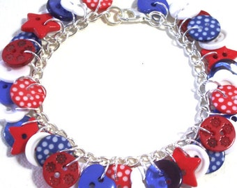 Summer - Red, White and Blue button charm bracelet Button Jewellery Button Jewelry UK Handmade Free UK Shipping