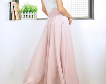 High Waist Maxi Skirt Chiffon Silk Skirts Beautiful Bow Tie Elastic Waist Summer Skirt Floor Length Long Skirt (037),#25