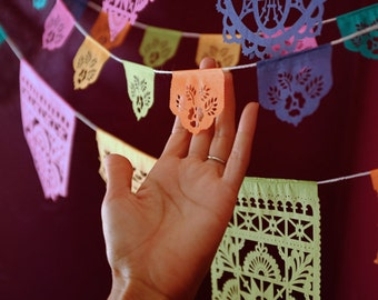 Papel picado Mexican banners - LAS FLORES mini minis - Ready Made