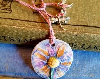 Ceramic Essential Oil Diffuser Pressed Wild Flower Necklace, Handmade Porcelain Aromatherapy Jewelry, Adjustable Purple Orange Yellow