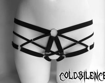 Body harness cage panties adjustable fetish burlesque goth fashion elastic gift for her