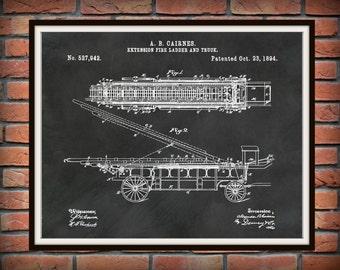 Patent 1894 Fire Extension Ladder and Truck #2 - Art Print - Poster - Fire House Art - Fire Fighter - Fire Rescue Art - Fire Truck Equipment