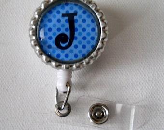 Initial Blue - Retractable ID Badge Reel - Badge Holder - Personal Badge Clip - RN Badge - Nurse Badge Reel - Nursing Badge Holder