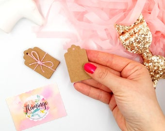 Set of 20 Mini Kraft Paper Tags | Favor Hang Tags | Gift Tags | Die Cut | Favor Tags Wedding Favors Bridal Shower | DIY Party Supplies