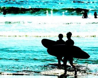 I Love Santa Monica, Surfs Up. Surfers at the beach, California, Blue, Water, Ocean, Waves Fine Art Photograph Print Photography