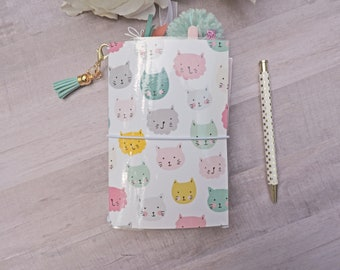"Cat Pocket Travelers Notebook - Paperdori - Fauxdori - 6"" x 4"" x 1"" - Four Notebook Inserts - Laminated Cover - Gift for Her"
