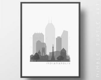 Indianapolis Skyline Printable Download  -  Black and White  -  Grayscale - Indianapolis Gallery Wall Art