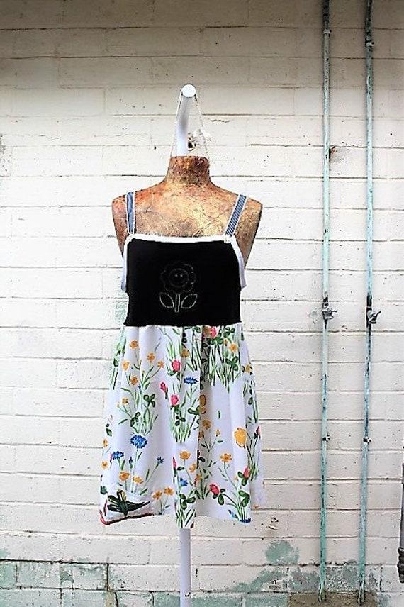 Med Garden Dress/Upcyled Clothing/Country Fairy Dress/Farm Dress/Eggplant Carrot Babydoll/Upcycled Dress/Upcycled fairy Dress/Anthropologie