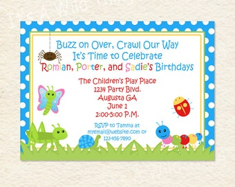 Siblings Joint Party Bug Themed Blue Printable Invitations