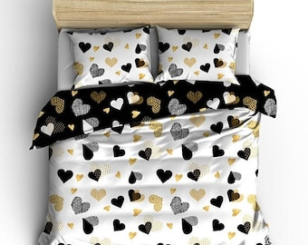 Memorial On Sale Custom Heart Zone Gold  Double Side Reversible Comforter , polyester sateen - Available Twin, Full/Queen, King Size SET, ca