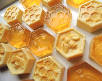 HONEYCOMB or GOATSMILK with Lemon Peel SOAPS, Set of 18, or get a Mix of Some Goats Milk and Some Honey Soaps, Wedding Favors