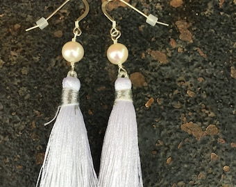 White tassel freshwater pearl sterling silver earrings
