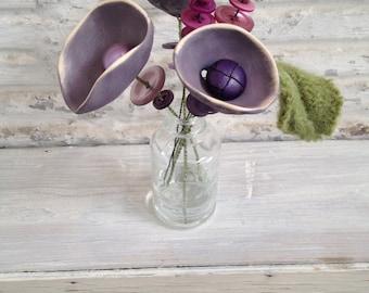 purple tulip button flower bottle bouquet