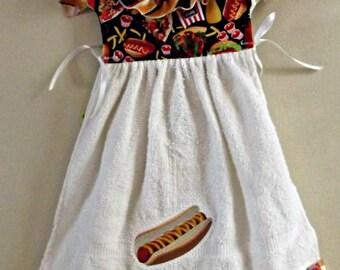 kitchen towel, hanging towel, hot dog in bun, hot dog bun fabric,  embroidered towel, oven door towel, towel dress, , housewarming, shower