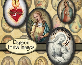 Holy Images 18mm x 25mm cameo ovals  Digital Collage Sheet