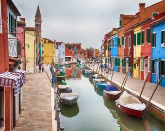 Venice Italy, Burano Italy, Venice Side Trip, Burano Canal, Fishing Boats, Multi Color Houses, Italy Wall Decor, Burano Scene, Art Photo