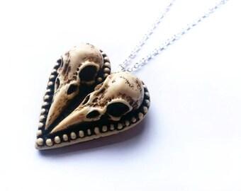 The Lovebirds Pendant, Raven Skull Necklace