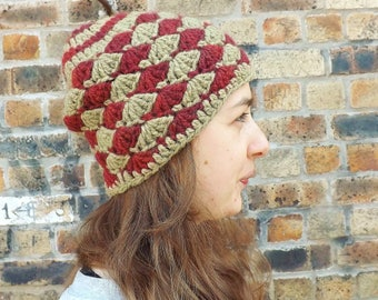 Wool Hat, Winter Hat, Eco Friendly, Green and Red Beanie, Crochet Beanie, Knitted Hat, Hippie Beanie, Adult Beanie, Gift for Her, Natural