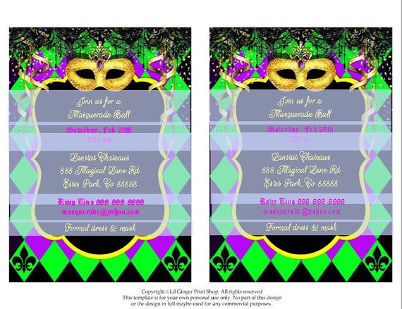 Mardi Gras Invitation Mardi Gras Party Invitation Masquerade