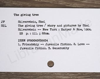 Library catalog card : The Giving Tree by Shel Silverstein