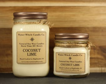 Coconut Lime scented soy wax candle in 16oz. Mason Jar