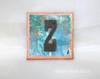 Rustic Letter Z and Painted Verdigris Magnet 2 X 2