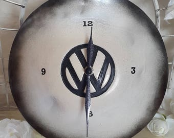 VW Dome Hubcap Wall Clock, Shabby Chic Style Volkswagen Wall Clock