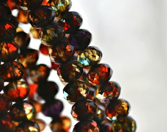 Stained Glass - Premium Czech Glass Beads, Translucent Red, Yellow, Picasso Finish, Rondelles 7x5mm - Pc 15